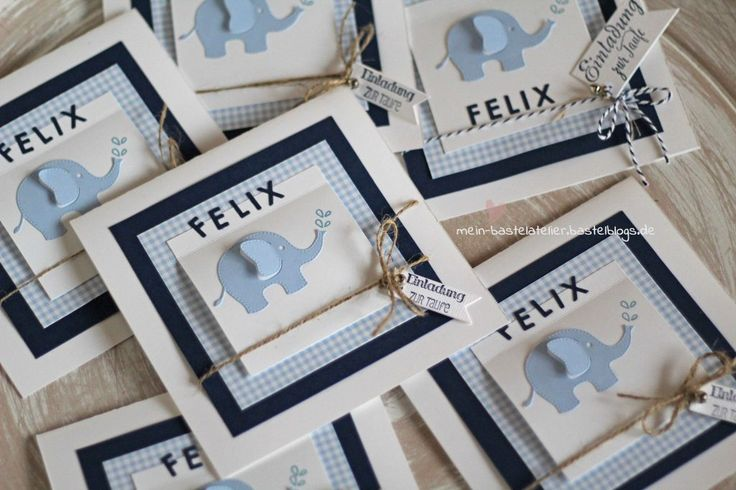 Einladung Taufe Elefant Stampin Up