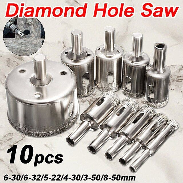 Hot Sale 10pcs Set 8 50mm Diamond Coated Core Hole Saw Drill Bits Tool Cutter For Tiles Marble Glass Granite Drilling Best Price Review With Images Drill Bits Hole Saw Drill