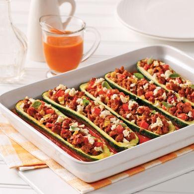 Courgettes farcies à la saucisse italienne et feta - Soupers de semaine - Recettes 5-15 - Recettes express 5/15 - Pratico Pratique