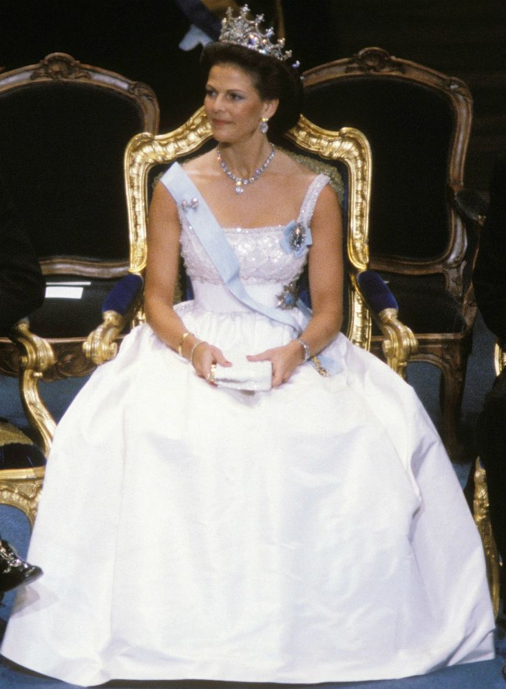 Queen Silvia at the Nobel prize festivities in 1982 Dress made by Jorgen Bender