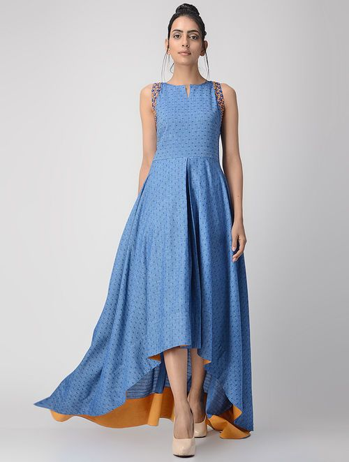 Blue Hand-embroidered Handwoven Cotton Dress with Asymmetrical Hem