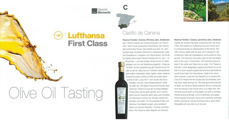 Enjoy our Family Reserve EVOO in Lufthansa First Class!!  ¡¡Disfruta de nuestro aceite de oliva virgen extra Reserva Familiar en Primera Clase!!