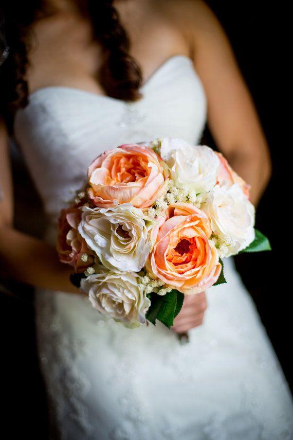 Silk Wedding Bouquet Cabbage Rose Bouquet by Hollysflowershoppe