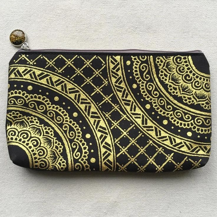 Zipper Pouch Coin Purse Hand Painted Pattern Cosmetic Bag Pencil Case ...