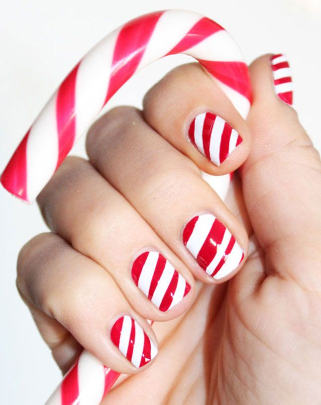 Candy cane nails—so clever!
