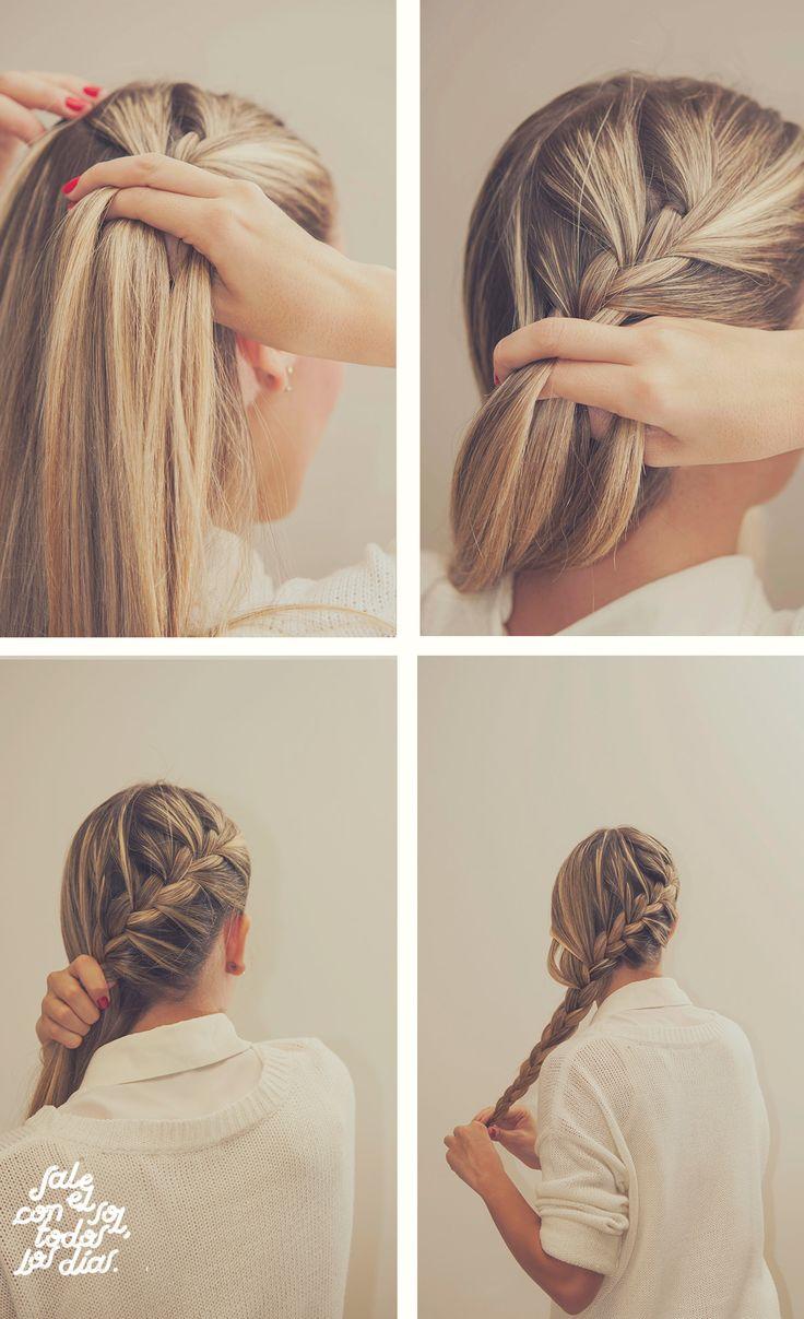 ►Back Braid ► Hairstyle ► ♥‿♥  En un costado del rostro toma un pedacito de pelo, pártelo en 3 pedazos y empieza una trenza tradicional. Ve cogiendo pelo de los costados de la trenza para irla alimentando, así bordeando toda la parte trasera de la cabeza, hasta llegar al otro lado del rostro. Es una trenza sencilla y divertida, ideal recibir a Noviembre.