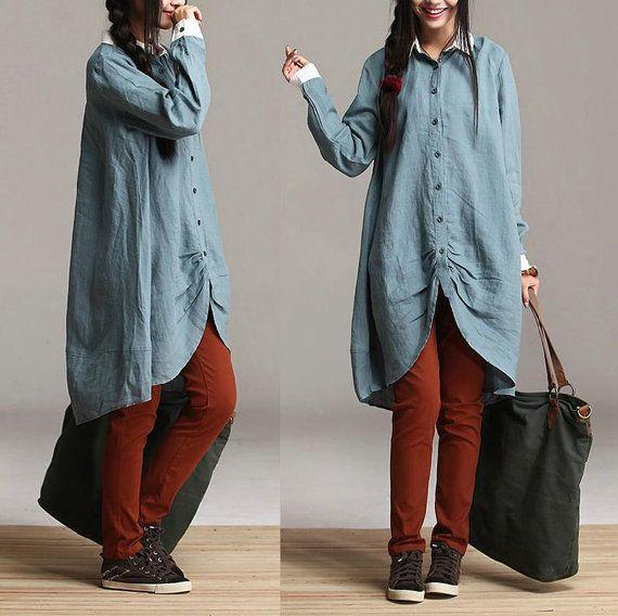 Spring asymmetric linen shirt loose bud style Lapel by dreamyil, $99.00