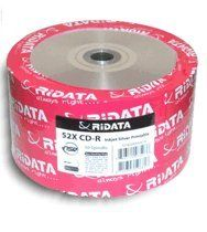 Ridata 52X 80-Min Silver Inkjet Hub/Silver CD-R's 50-Pack Shrinkwrap by Ridata. $13.80. Ridata 52X 80-Min CD-R's hold 700MB of data and offer excellent quality and reliability. Silver Inkjet Hub Printable surface.. Save 49% Off!