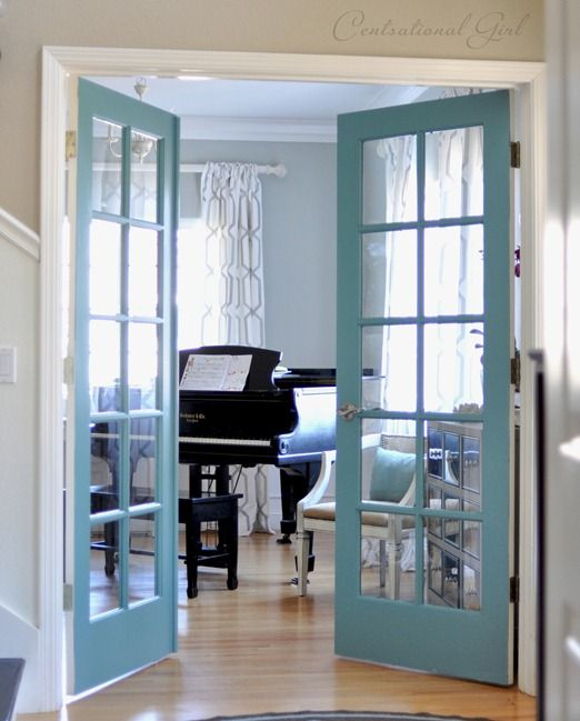 DIY painted french doors- Great place to bring in some color- Tips and Tricks
