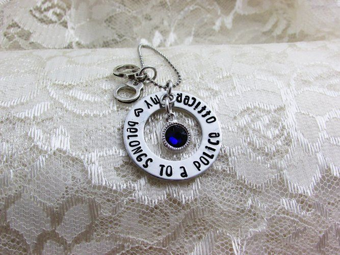 My heart belongs to a police officer, Hand stamped Necklace, Police Wife, Thin Blue Line Jewelry