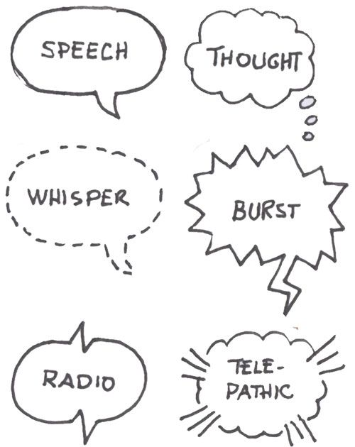 Sketch notes  Varieties of speech bubbles. Thought, whisper, outburst, radio, telepathic.