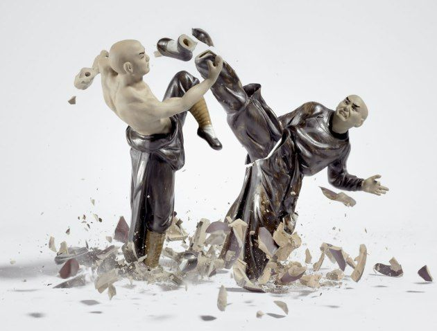 Martin Klimas dropping porcelain figures shattering at the last second. very nice execution although the setup and execution of this idea will be costly and time consuming it is a very good idea to re-create and replicate.