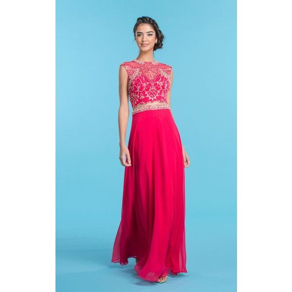 Coya Collection CL1598 Prom Long Dress Long High Neckline Sleeveless (480 CAD) ❤ liked on Polyvore featuring dresses, formal dresses, fuchsia, 2 piece dress, prom dresses, 2 piece formal dresses and blue prom dresses