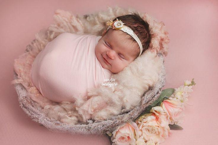 Pink baby girl sleeping like an angel