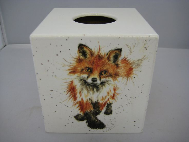 Wild Fox Tissue Box Cover wooden handmade by crackpotscrafts on Etsy