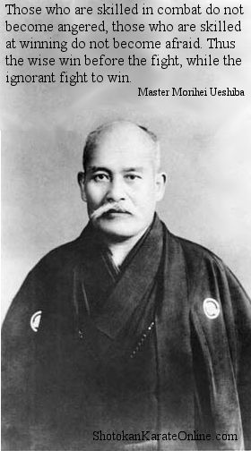 Those who are skilled in combat do not become angered, those who are skilled at winning  do not become afraid. Thus the wise win before the fight, while the ignorant fight to win. Master Morihei Ueshiba