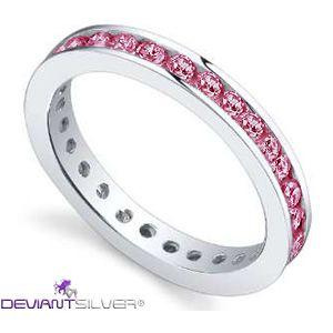 """Gli anelli fedine con luminosi zirconi rubino, gioielli in Argento 925/1000: la fedina """"BABY PINK"""" è un gioiello caratterizzato dalla rivière di luminosi Zirconi color rubino a tuttogiro nell'argento di finitura lucida."""