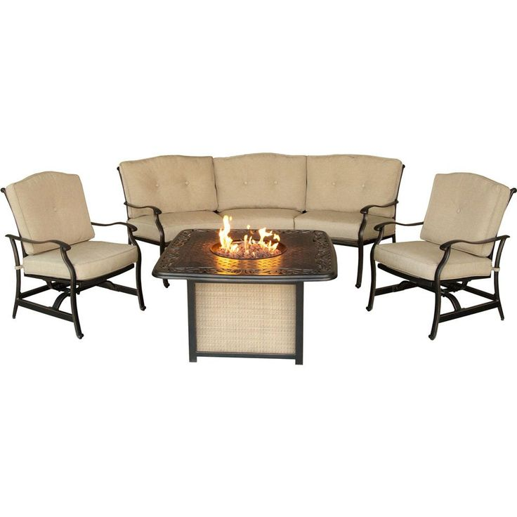Hanover 4-Piece Traditions Outdoor Cast Top Fire Pit Lounge Set, Natural Oat/Antique Bronze. Includes 2 deep-seating rocker chairs, 1 crescent-shaped sofa and 1 square LP gas fire pit with cast tabletop. 30,000 BTU LP gas fire pit holds 20 lb. tank in concealed chamber (gas tank not included). Rust-resistant, all-weather cast aluminum frames. Plush, foam cushions wrapped with treated olefin fabric to resist moisture, stains and UV harm. Some assembly required-hardware provided.