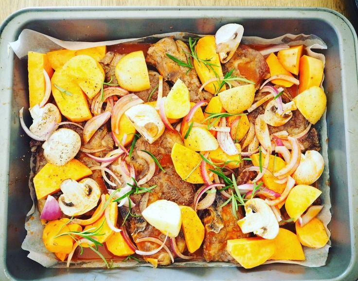 Lamb Chop and Vegetable Tray Bake
