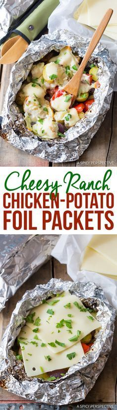Easy Cheesy Ranch Chicken Potato Foil Packets - Great for Camping, Tailgating, & Picnics! (Chicken Breastrecipes Pesto)