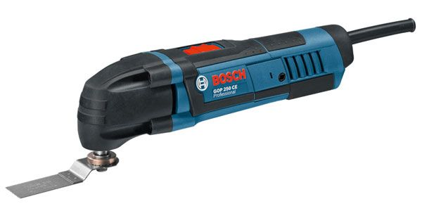 Bosch Professional GOP 250 CE Multifunktionswerkzeug + 10 tlg. Zubehör + Zubehör-Adapter im Karton