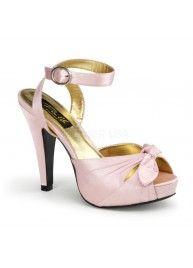 Pin Up Schuhe - Sandaletten - Pink Satin