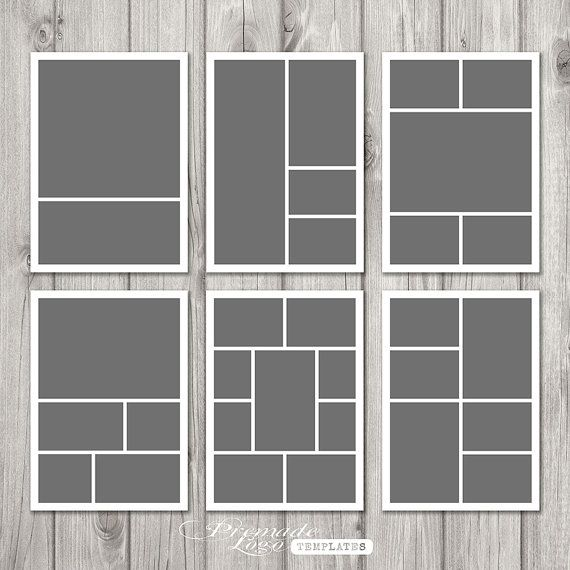 Photo Template, Storyboard Template, Photo Collage Template, Photographer Template - INSTANT DOWNLOAD - 5 x 7 (6 psd files) - P101