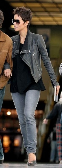 Who made  Halle Berry's black leather jacket and gray jeans that she wore in Los Angeles?