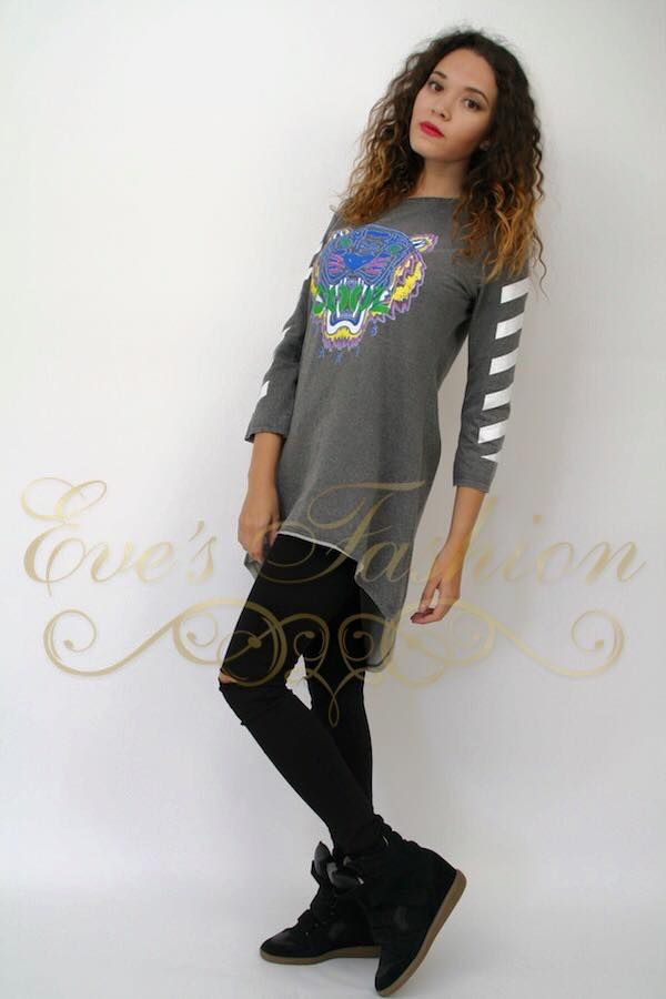 Leuke grijze trui met tijgerprint erop. Www.eve-fashion.com