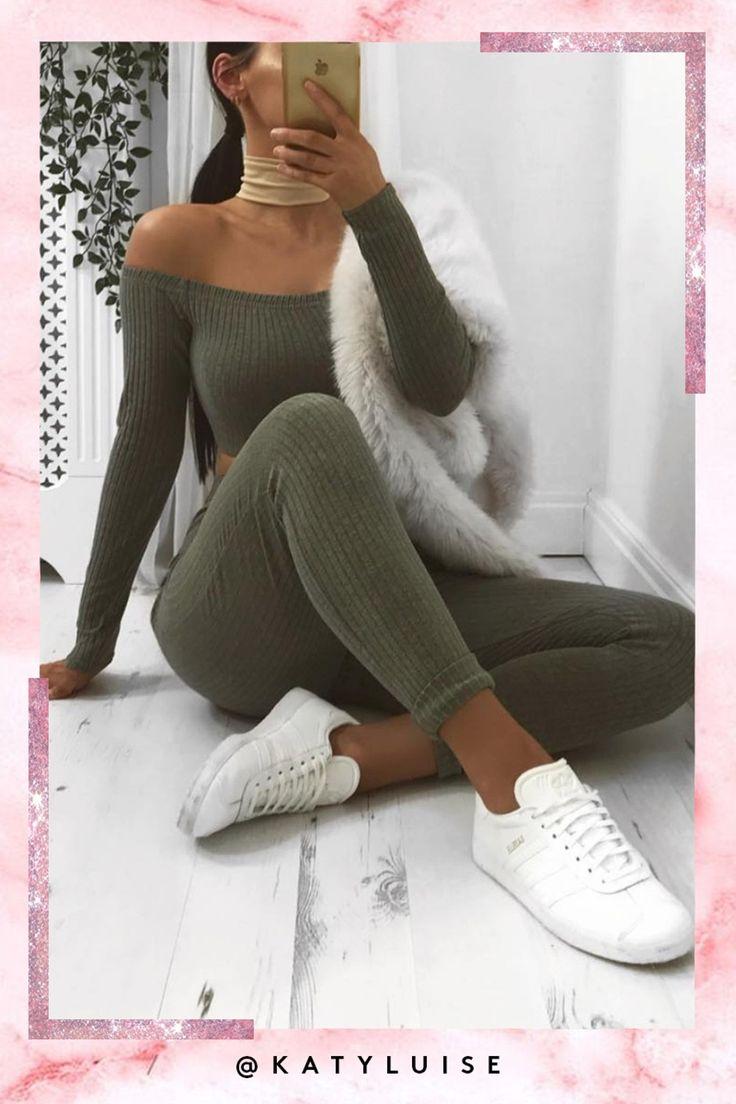 Kaia Khaki Ribbed Bardot Loungewear Set