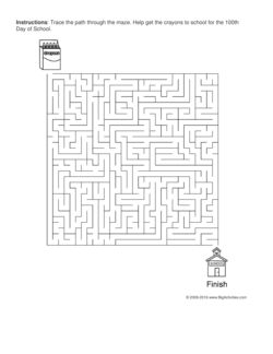 100th Day of School maze worksheet with a box of crayons and a school house. 4 levels of difficulty. Maze changes each time you visit