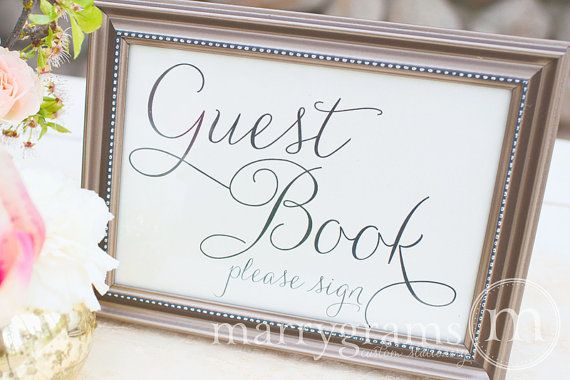Guest Book Table Card Sign - Wedding Reception Seating Signage - Matching Numbers Available in Chalkboard Script Style - SS01