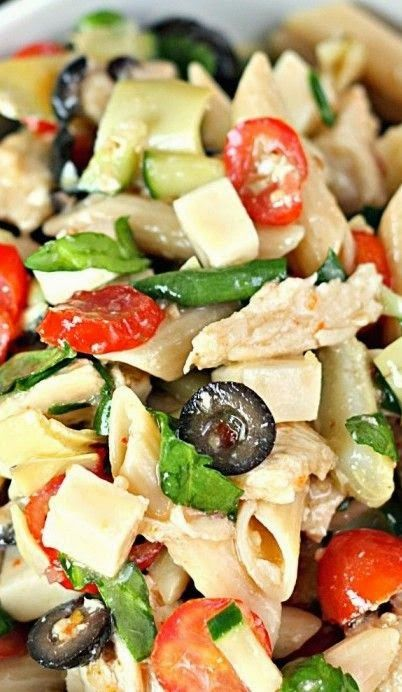 Italian Pasta salad with chicken vegetables and olives r