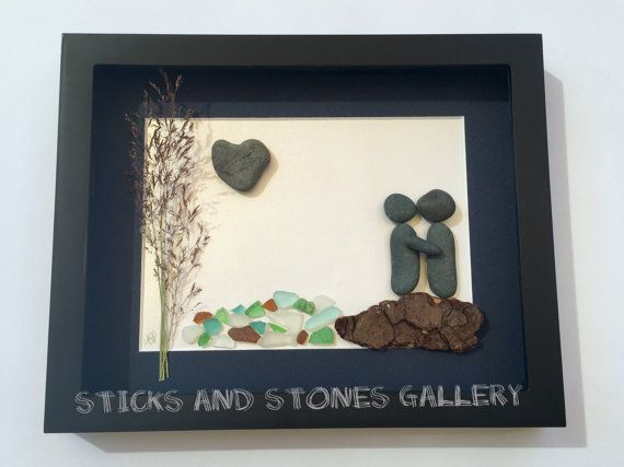 Pebble Art Gift, Beach Glass Art, Unique Engagement Gift, Pebble Art Couple Design, Abstract Art, Love Gifts, Anniversary Gift, Couples Art – For the Home