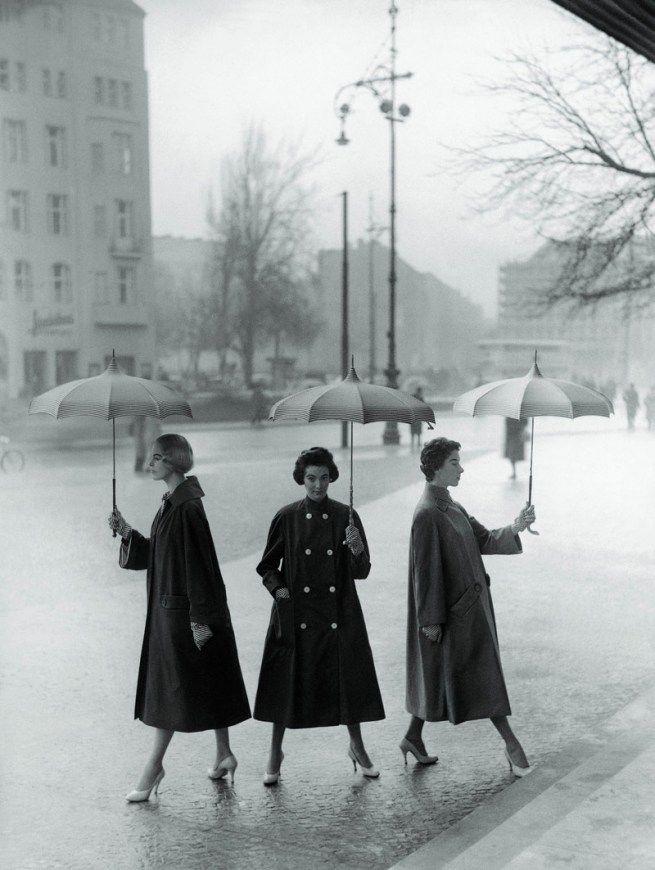 'Three Poplin Coats.' Berlin 1955.   I want one of these coats. bad.