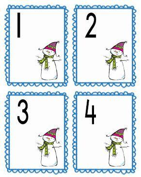 Cijferkaartjes 1 t/m 20. Tip: laat de kleuters er wattenschijfjes bij leggen als sneeuwballen. Winter kleuters | Thema, Lesidee Juf Anke
