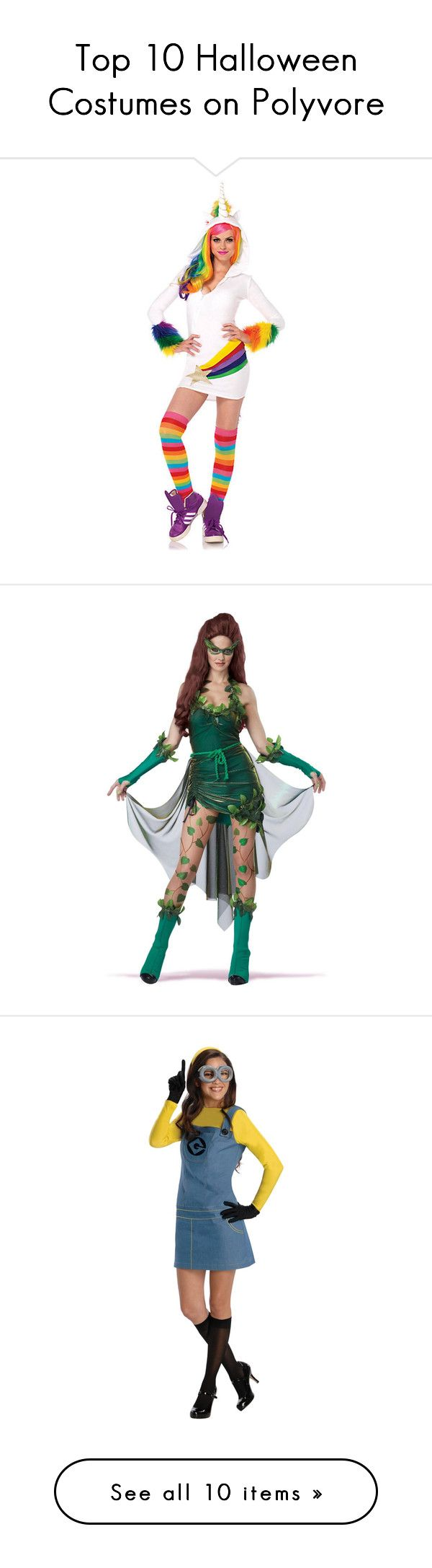 """""""Top 10 Halloween Costumes on Polyvore"""" by polyvore-editorial ❤ liked on Polyvore featuring Halloween, costumes, halloween costumes, multicolor, womens halloween costumes, star costume, sexy halloween costumes, leg avenue costumes, rainbow unicorn costume and black leather costume"""