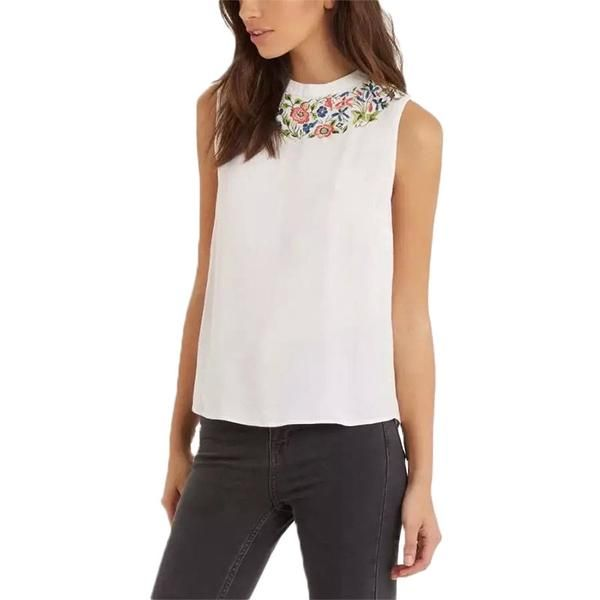 Women sweet white embroidery floral t shirt sleeveless casual summer tees camisas femininas O-neck elegant tops WT212