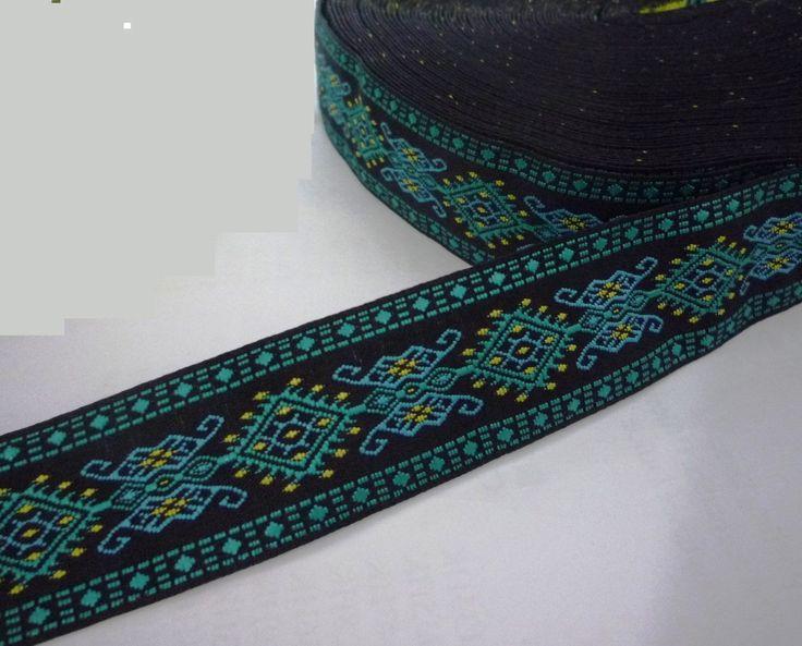 "5 yd 4 5 MTR Green Tone Flower Woven Jacquard Ribbon Trim 1"" 2 54 cm L665 | eBay"