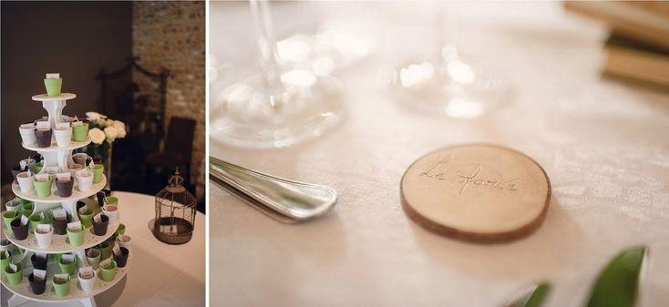Vrai mariage / Mariage ambiance nature / cadeaux invités / marque-place / photo: Julien Briche