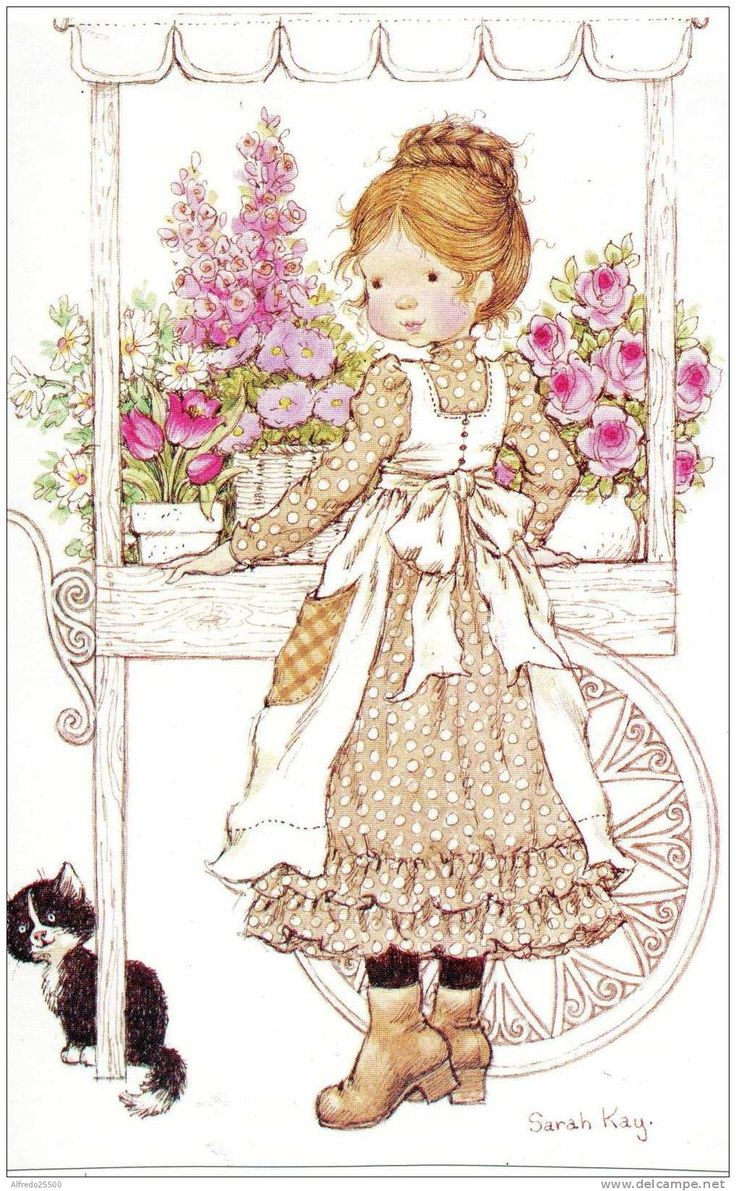 SARAH KAY : jeune fille, ses fleurs et son chat - Delcampe.net