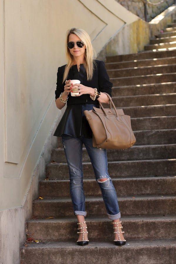 Atlantic-PacificRipped Jeans, Atlantic Pacific, Fashion, Peplum Tops, Celine Bags, Street Style, Boyfriends Jeans, Valentino Shoes, San Francisco
