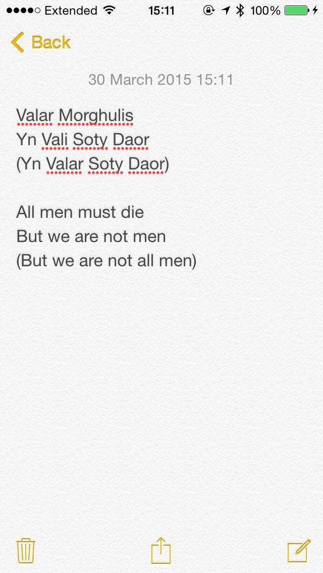 """Valar Morghulis  """"All men must die"""" Game of Thrones"""