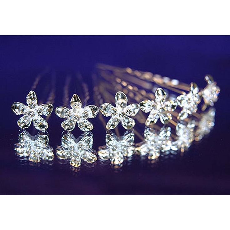 6 pcs X Bridal Wedding Flower Rhinestone Hair Pins CP1059