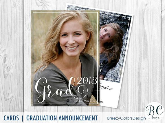 Modern Graduation Invitation Template, High School Grad Photo Card, College Student Announcement, Class of 2018, Photography Marketing Board