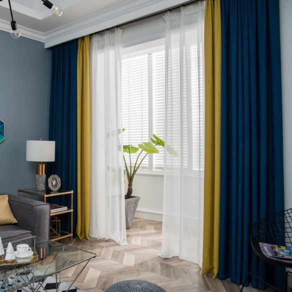 Patchwork Room Darkening Drapes Black 4 Prong Pinch Pleat Window Curtain For Living R Yellow Curtains Living Room White Curtains Living Room Living Room Orange
