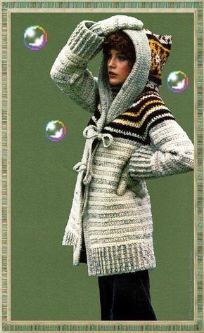 Crochet Hooded Sweater Pattern Vintage 70s Sweater Coat