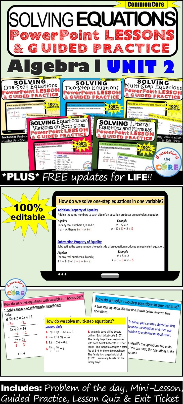 Get your students successfully SOLVING EQUATIONS with this PowerPoint Presentation BUNDLE.  This bundle includes 5 PowerPoint Lessons that guide students in creating equations and using equations to solve problems.  This BUNDLE includes all of the following PowerPoint Lessons: ✔ SOLVING ONE-STEP EQUATIONS  ✔ SOLVING TWO-STEP EQUATIONS  ✔ SOLVING MULTI-STEP EQUATIONS  ✔ SOLVING EQUATIONS WITH VARIABLES ON BOTH SIDES ✔ SOLVING LITERAL EQUATIONS & FORMULAS. 9th grade algebra 1 A.CED, A.REI