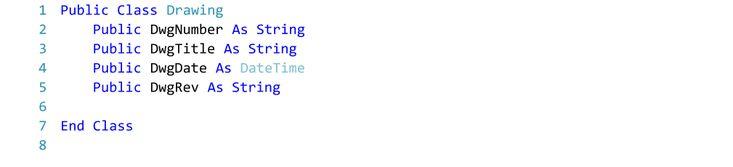 Visual Basic Code for Drawing Class.  Text Editor - Visual Studio 2015.