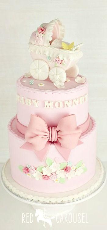 Vintage Pram Baby Shower Cake